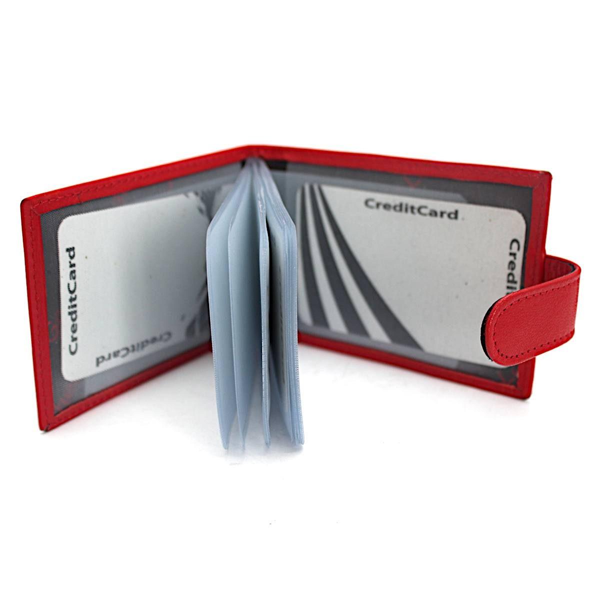 Хоризонтален Червен Картодържач-Калъф за Лични Документи Отворен