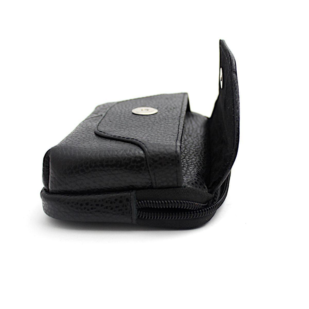 Черна Мъжка Чанта Естествена Кожа за Колан Отделение Едно