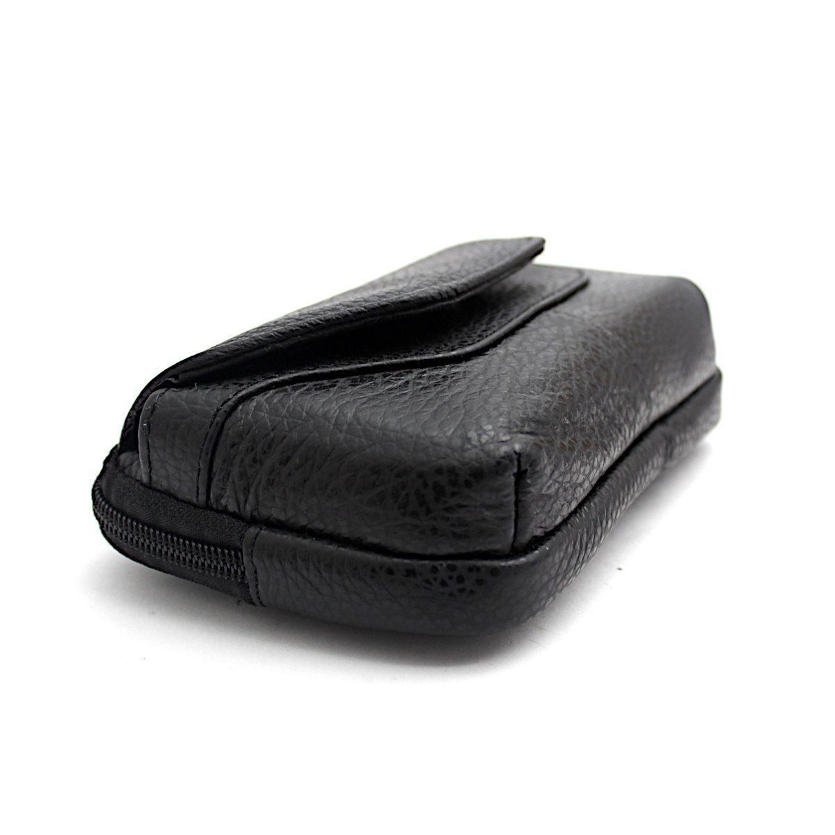 Черна Мъжка Чанта Естествена Кожа за Колан Страни