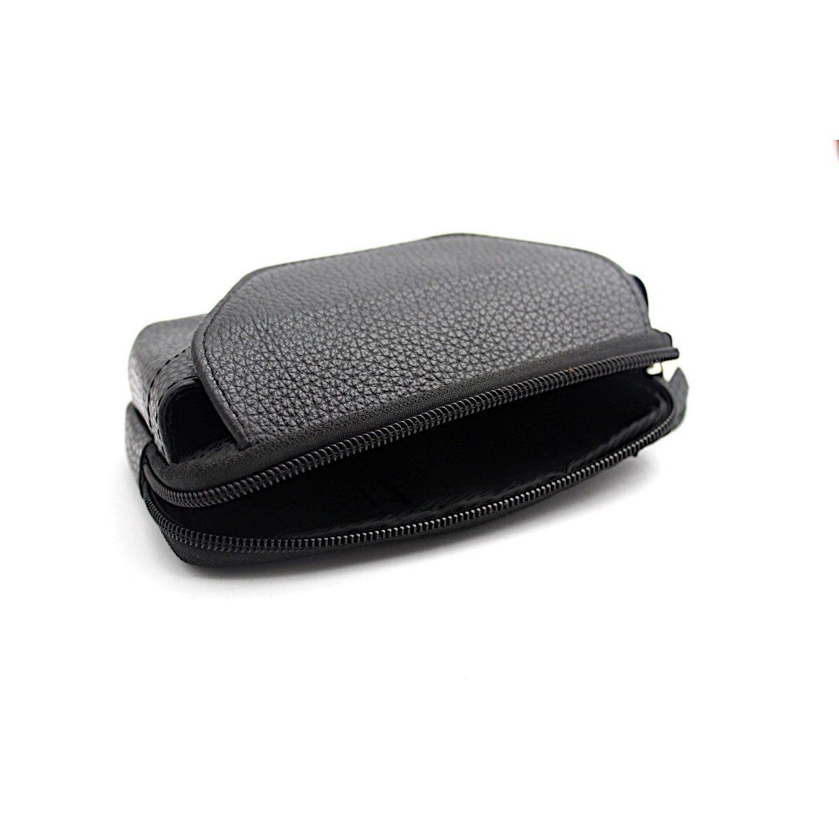Черна Мъжка Чанта Естествена Кожа за Колан Централно Отделение