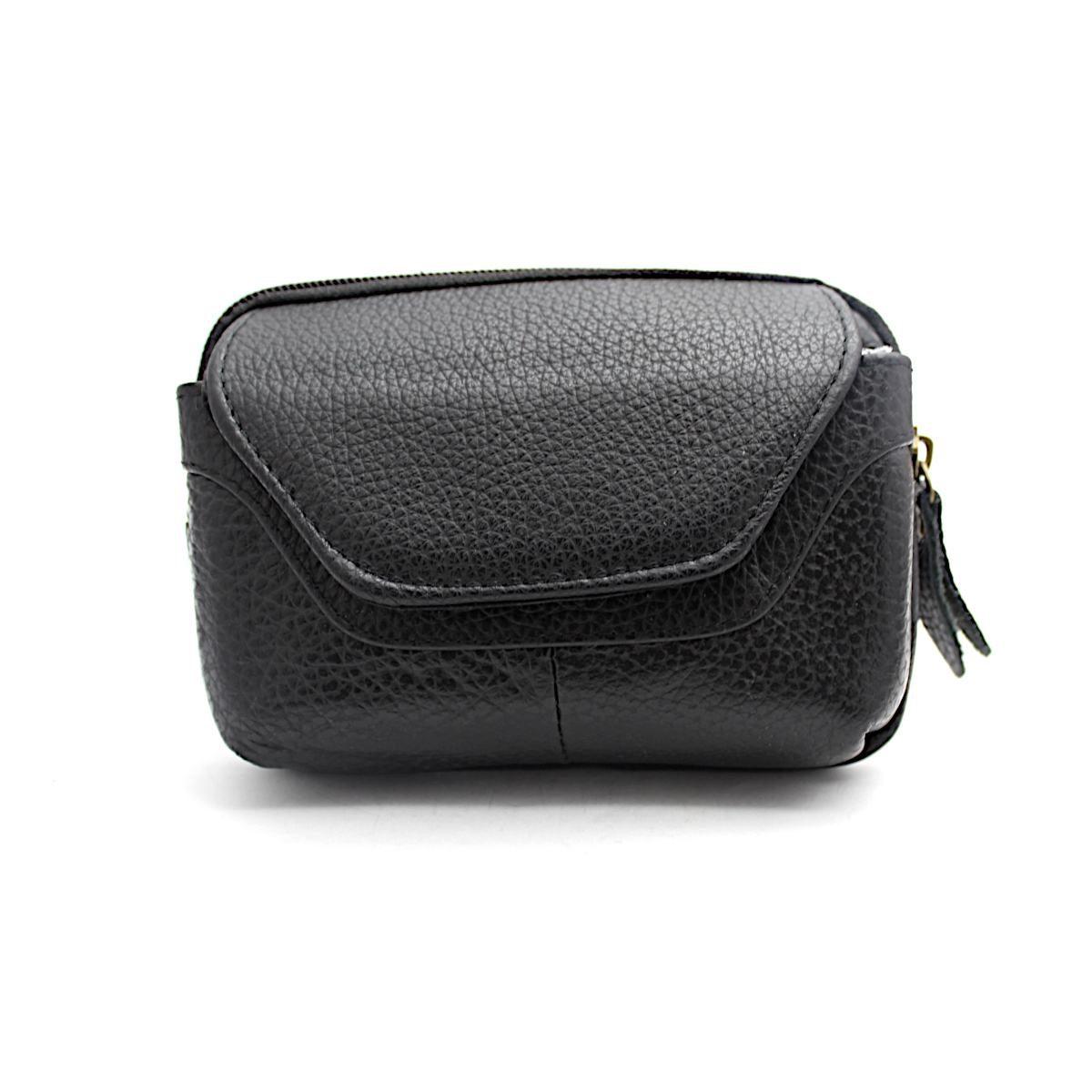 Черна Мъжка Чанта Естествена Кожа за Колан