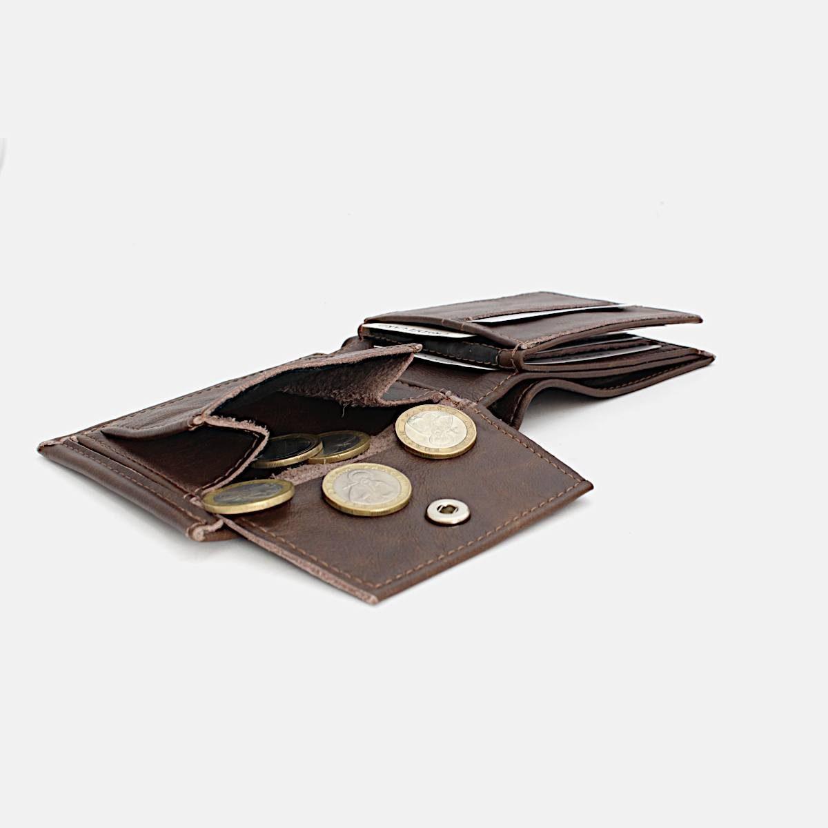 Луксозен Мъжки Портфейл Цвят Коняк Монети