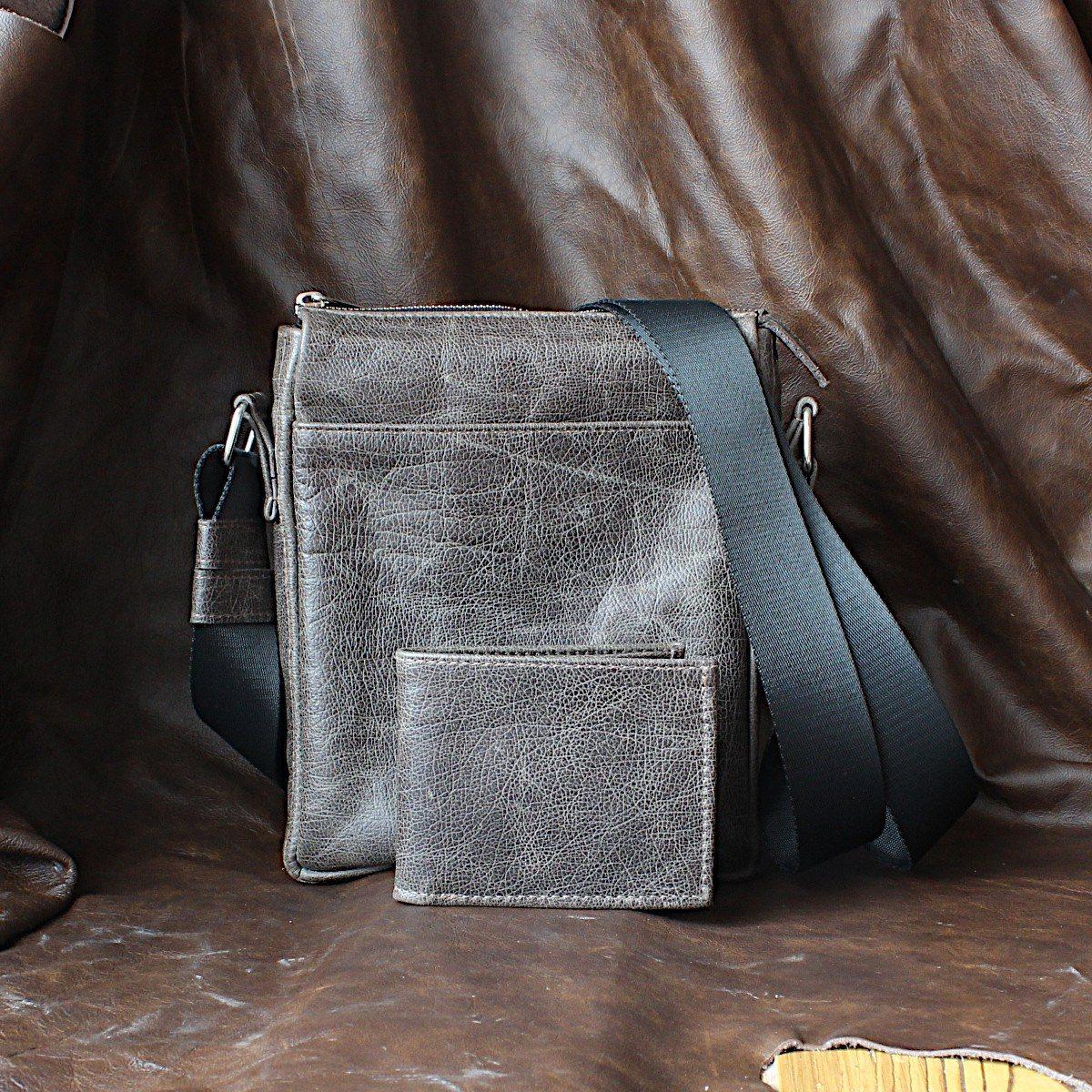 Комплект мъжка чанта и портфейл сив кожа
