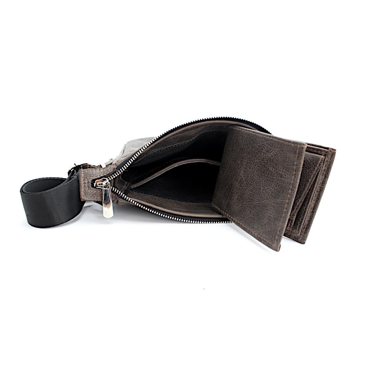Комплект мъжка чанта и портфейл сив отвътре