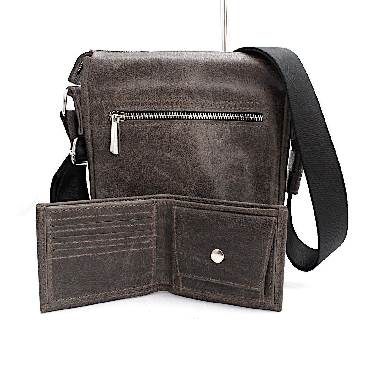 Комплект мъжка чанта и портфейл сив отзад