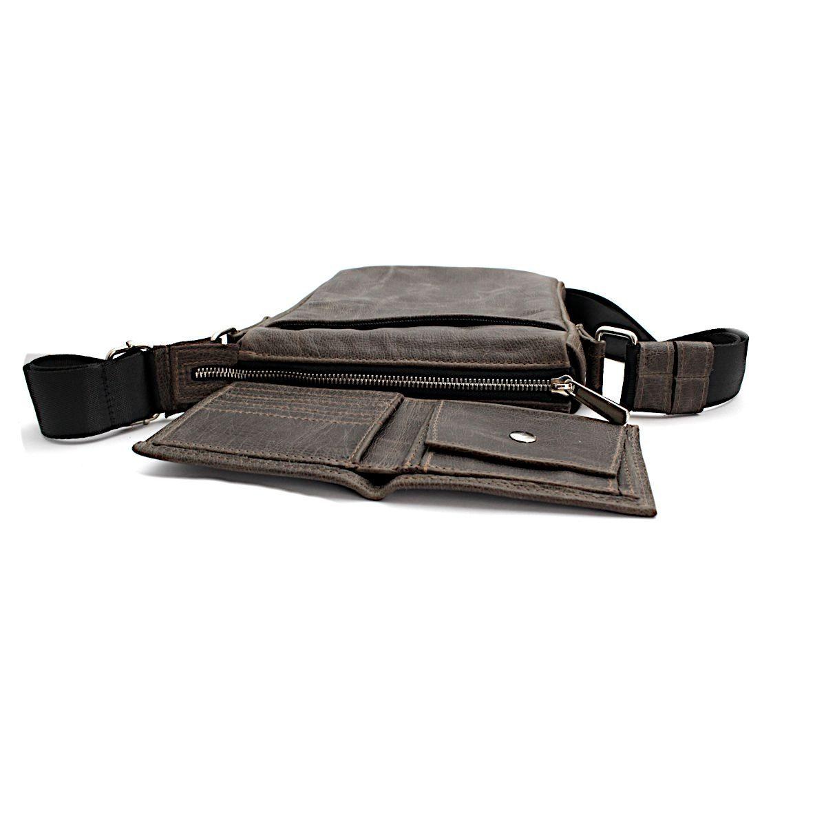 Комплект мъжка чанта и портфейл сив отпред
