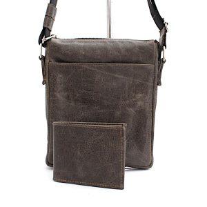 Комплект мъжка чанта и портфейл сив