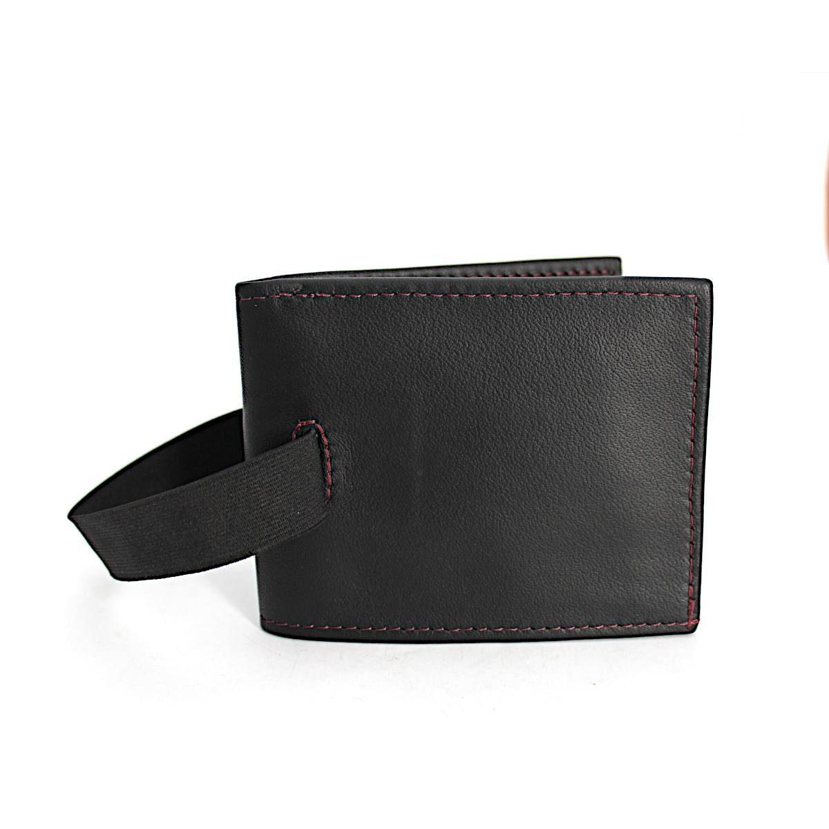 ръчно изработен черен мъжки портфейл-картодържач ластик