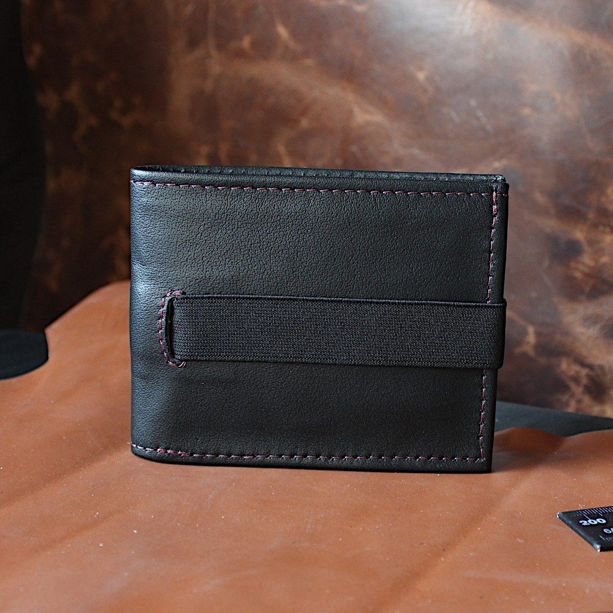 ръчно изработен черен мъжки портфейл-картодържач маса