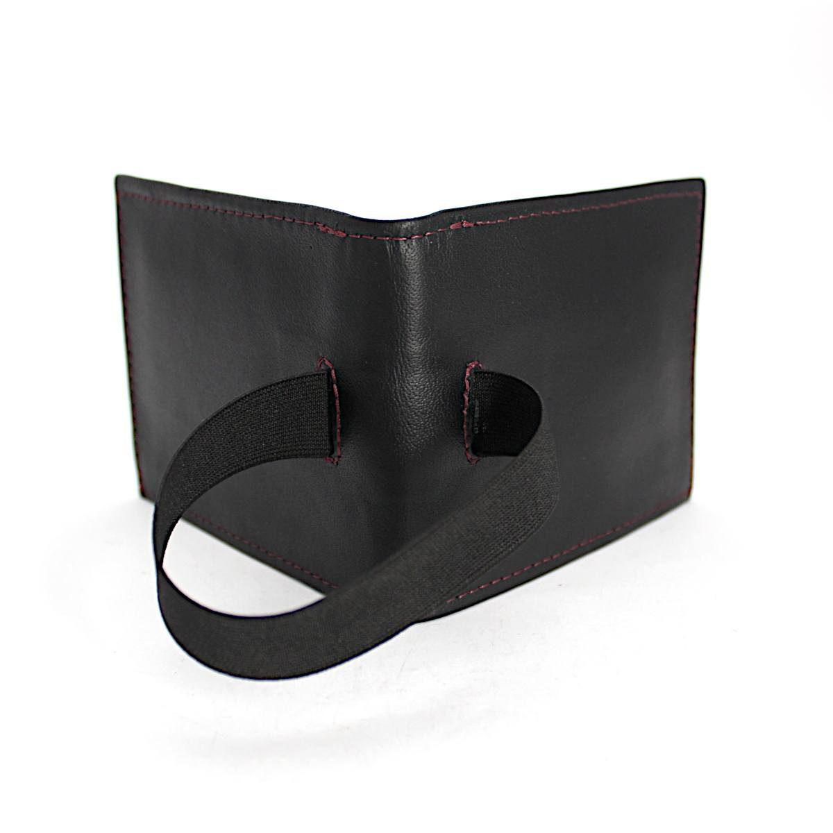ръчно изработен черен мъжки портфейл-картодържач отзад