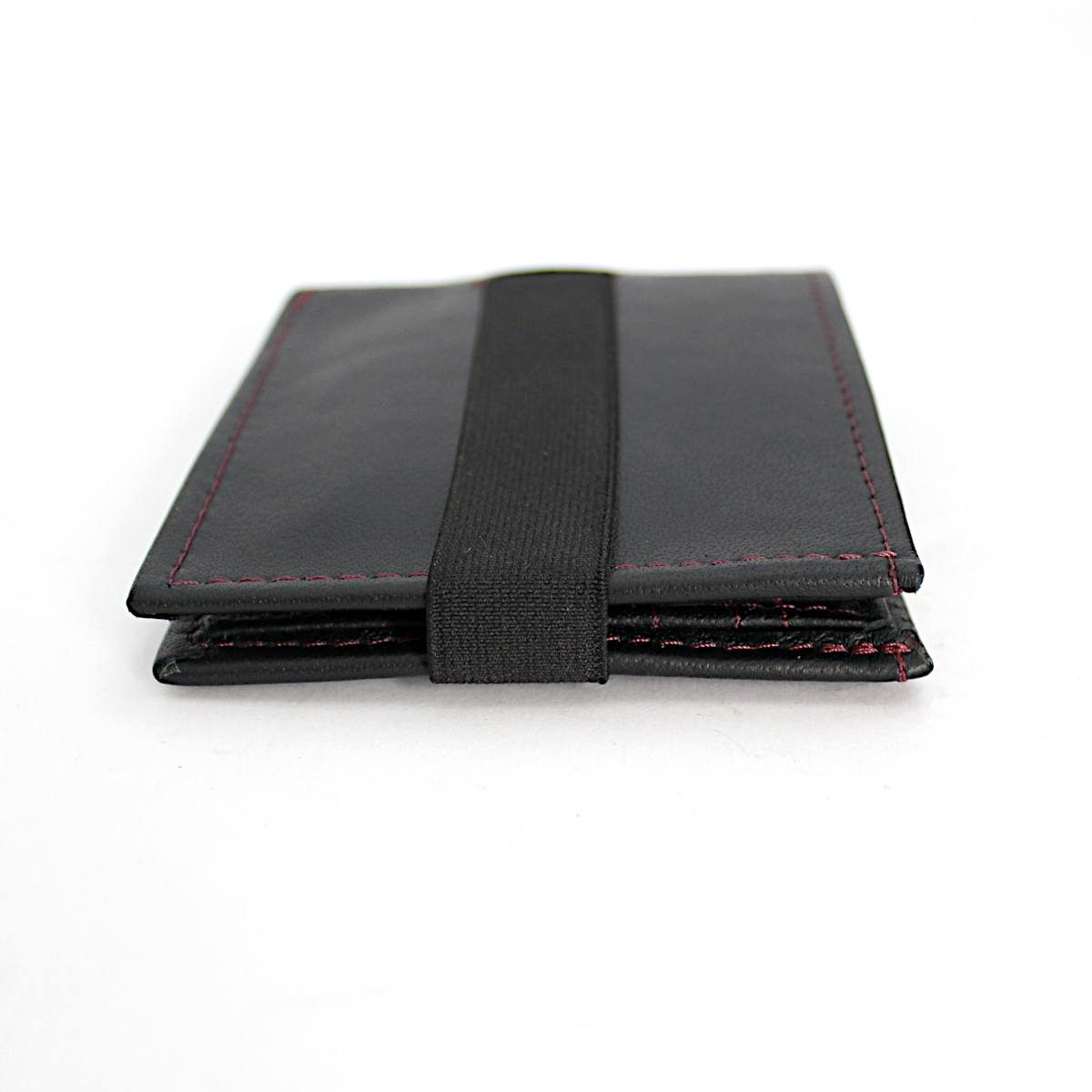 ръчно изработен черен мъжки портфейл-картодържач отпред