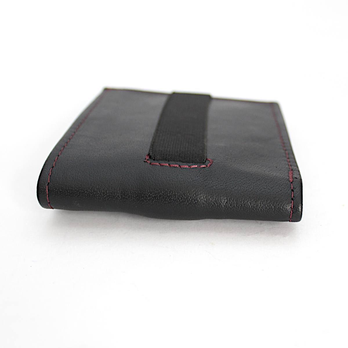 ръчно изработен черен мъжки портфейл-картодържач страни