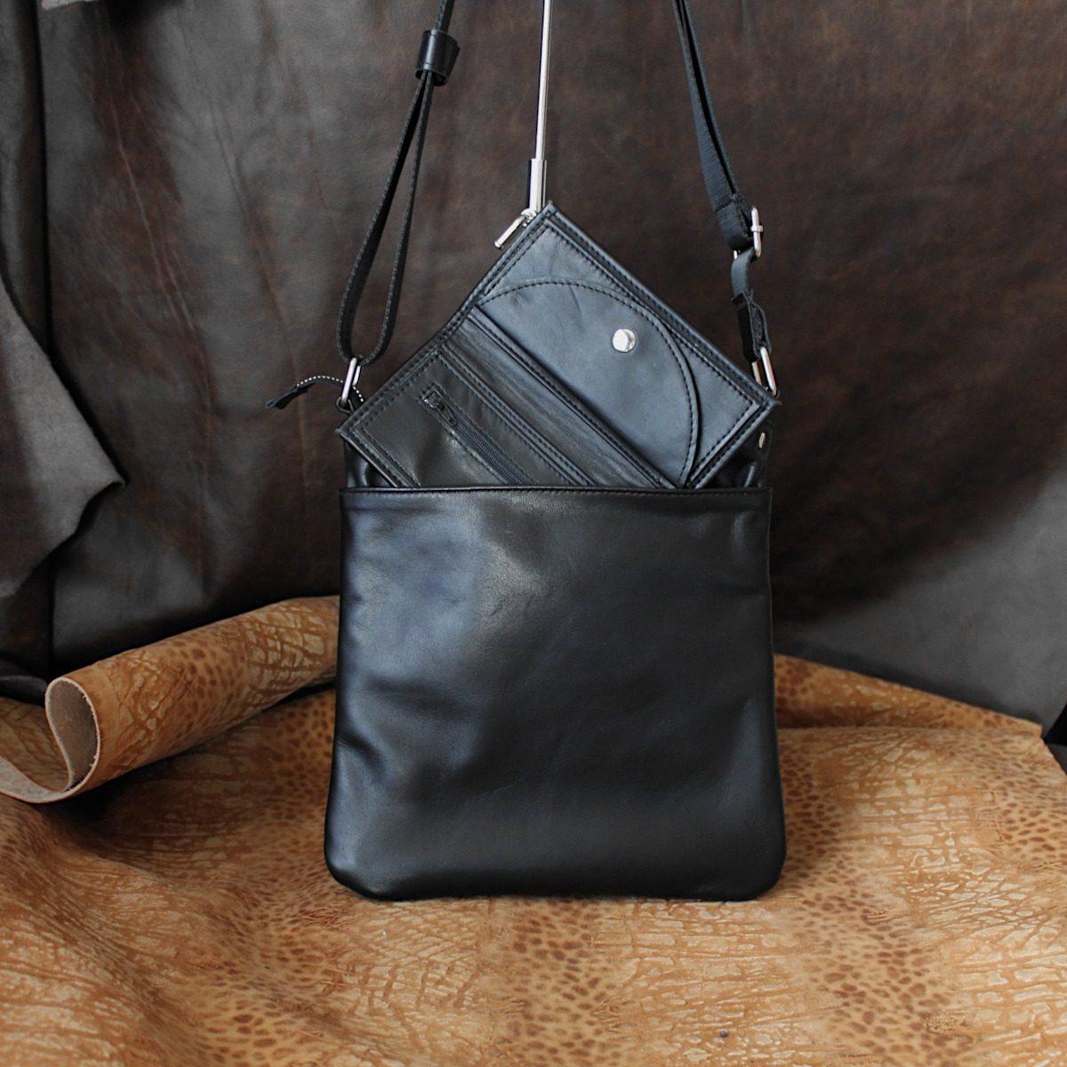 Комплект Тънка Мъжка Чанта и Портмоне от Естествена Кожа