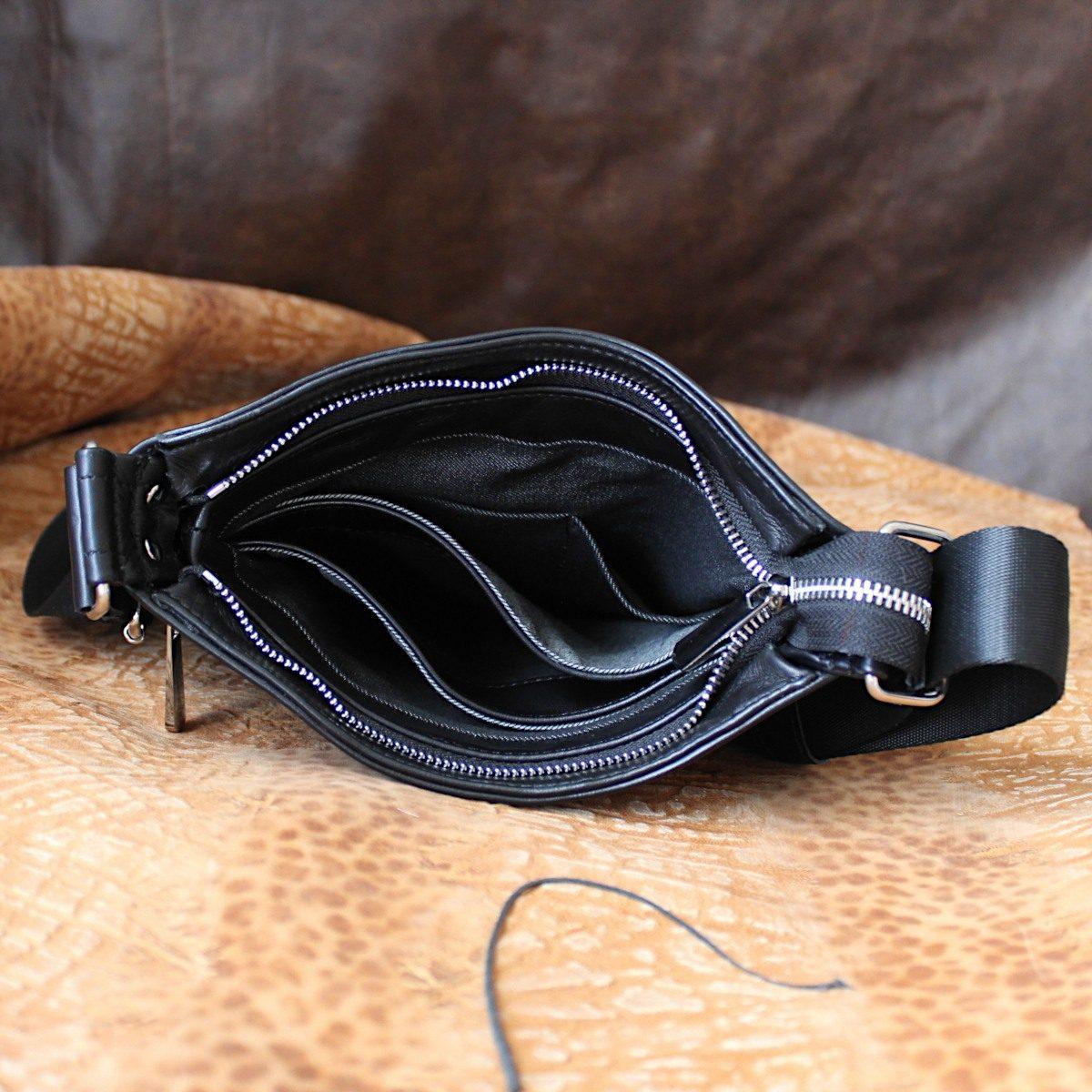 Тънка мъжка чанта от естествена кожа отворена