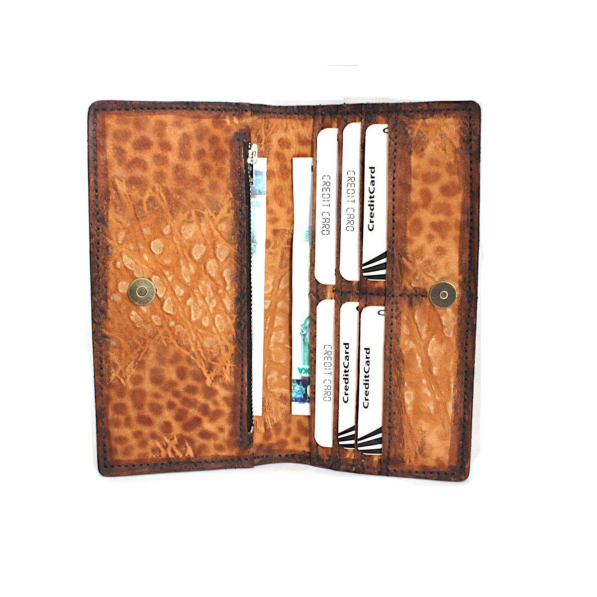 дамско портмоне естествена кожа леопардово