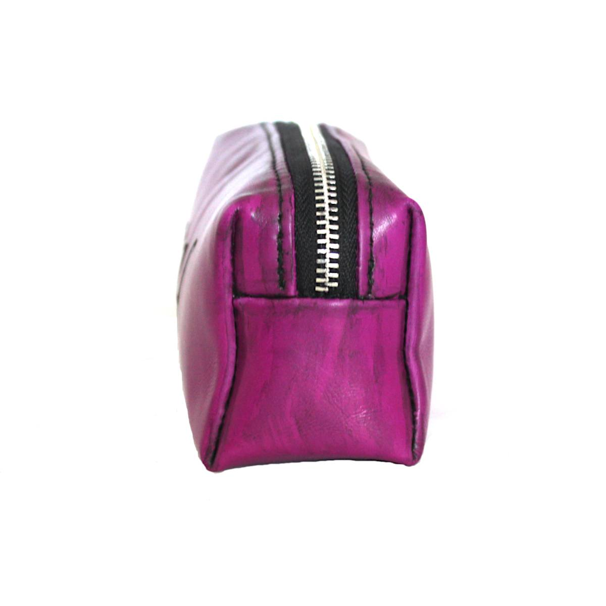 Дамски несесер от естествена кожа лилав страни