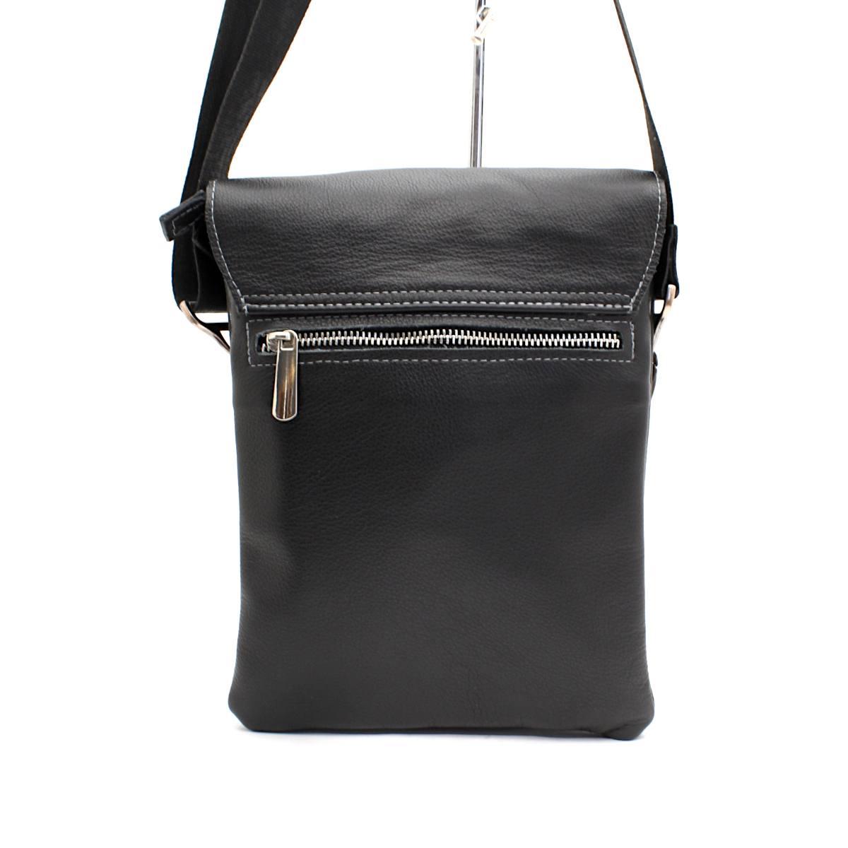 Черна мъжка чанта през рамо естествена кожа 8799 отзад