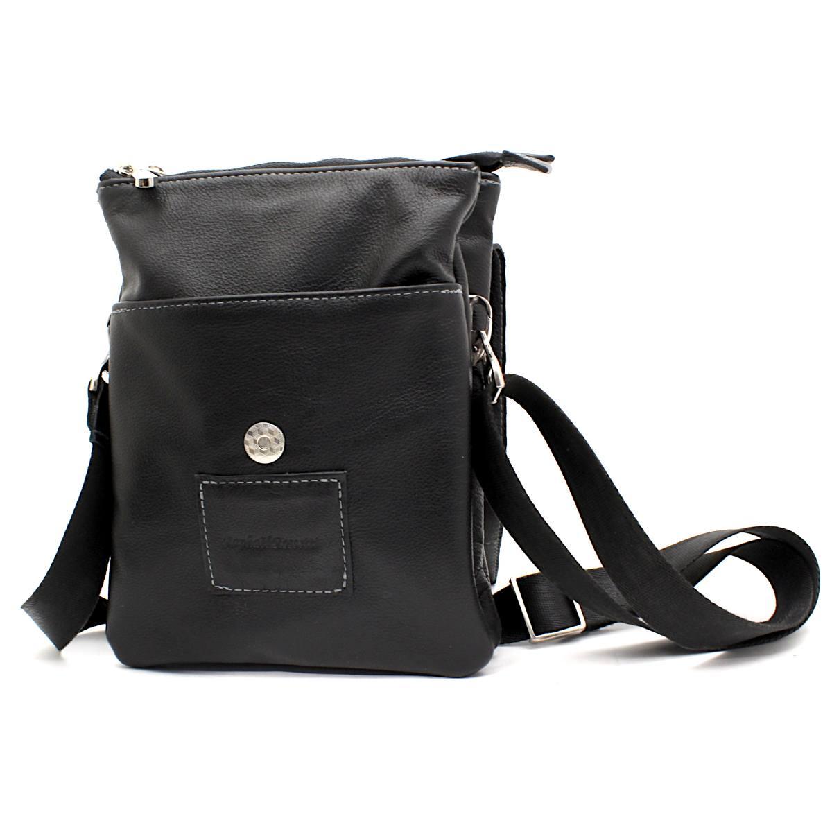 Черна мъжка чанта през рамо естествена кожа 8799 отпред