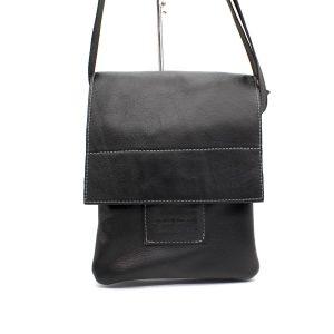 Черна мъжка чанта през рамо естествена кожа 8799