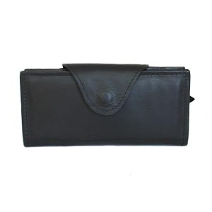 Ръчно изработено дамско портмоне от естествена кожа цвят черен