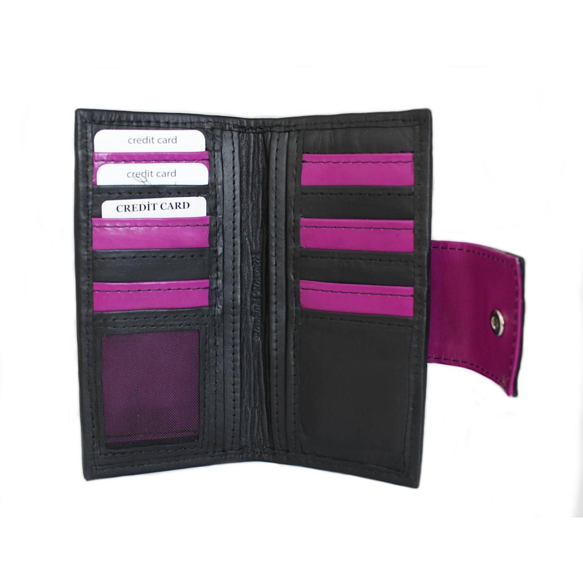 ръчно изработено черно дамско портмоне отворено
