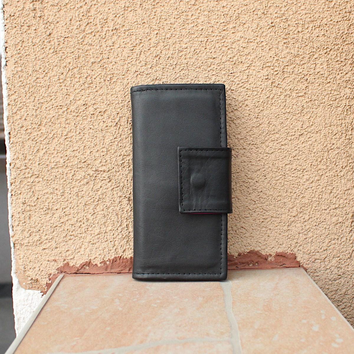 ръчно изработено черно дамско портмоне цветна