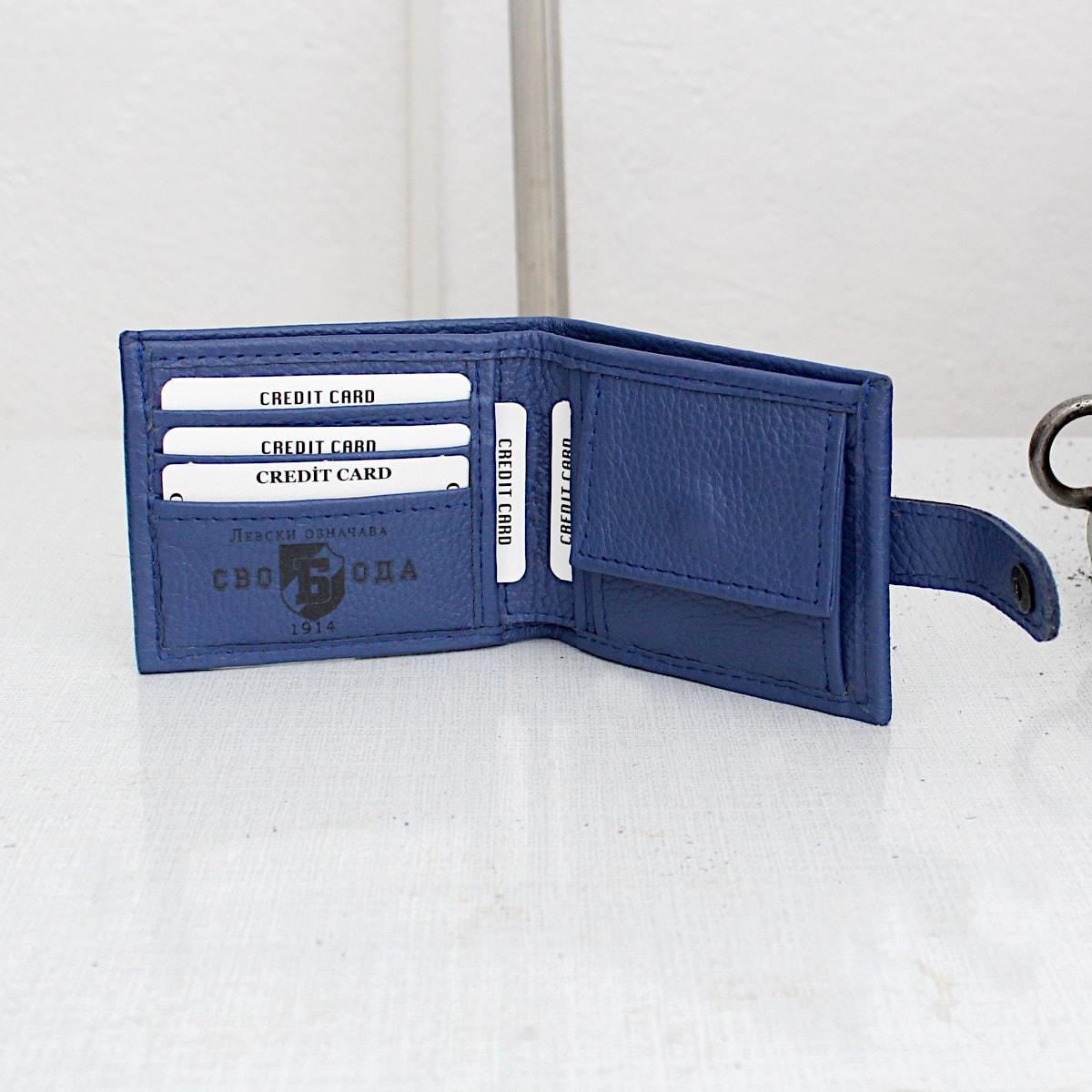 ръчно изработен син портфейл с логото на Левски карти