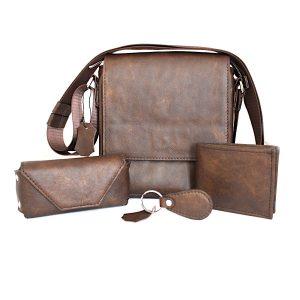 комплект мъжка чанта, портфейл, ключодържател и калъф за очила