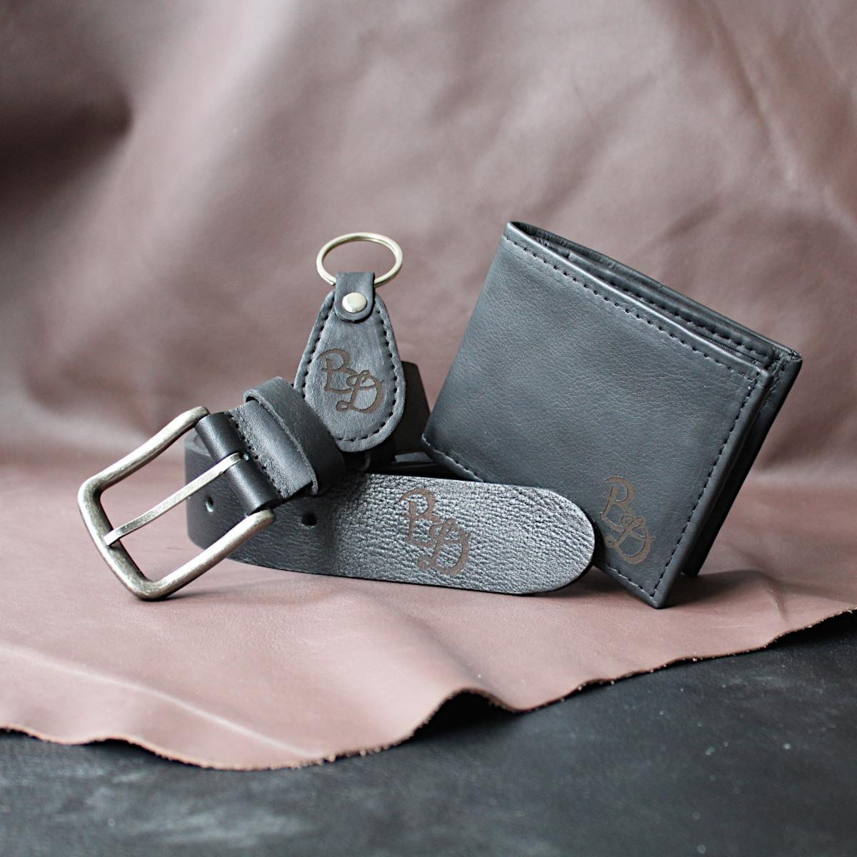 комплект мъжки портфейл, колан и ключодържател