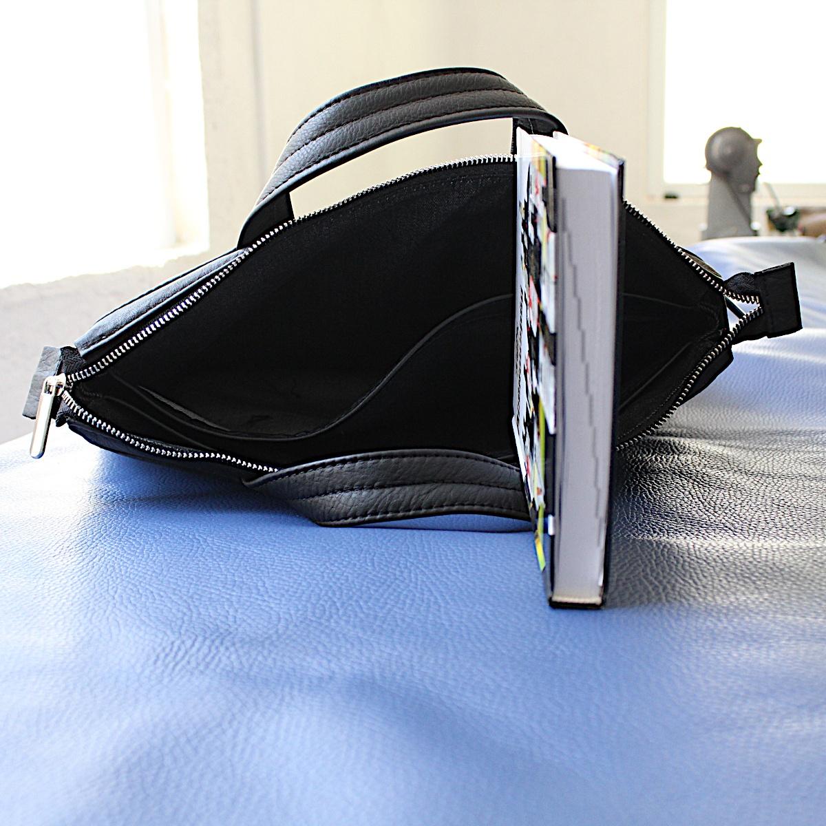 ръчно изработена черна мъжка бизнес чанта от естествена кожа отвътре