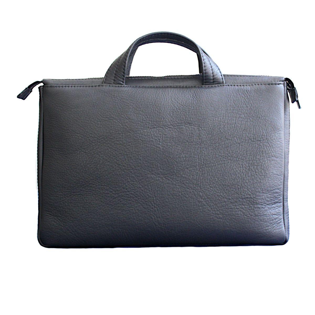 ръчно изработена черна мъжка бизнес чанта от естествена кожа