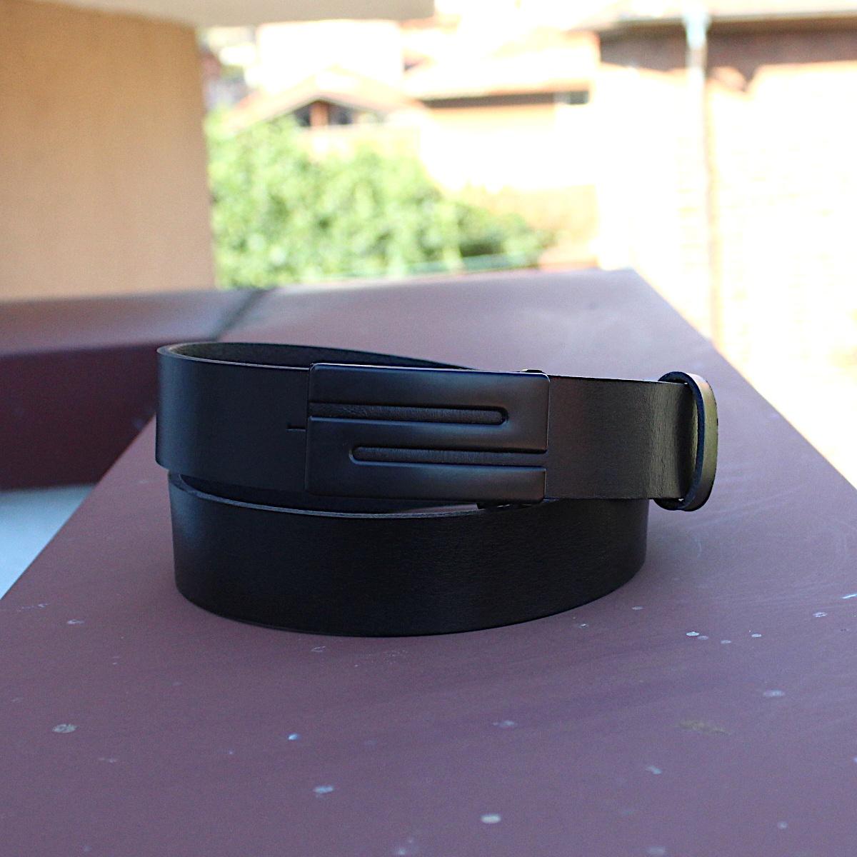 Класически черен колан естествена кожа 9345 цветна