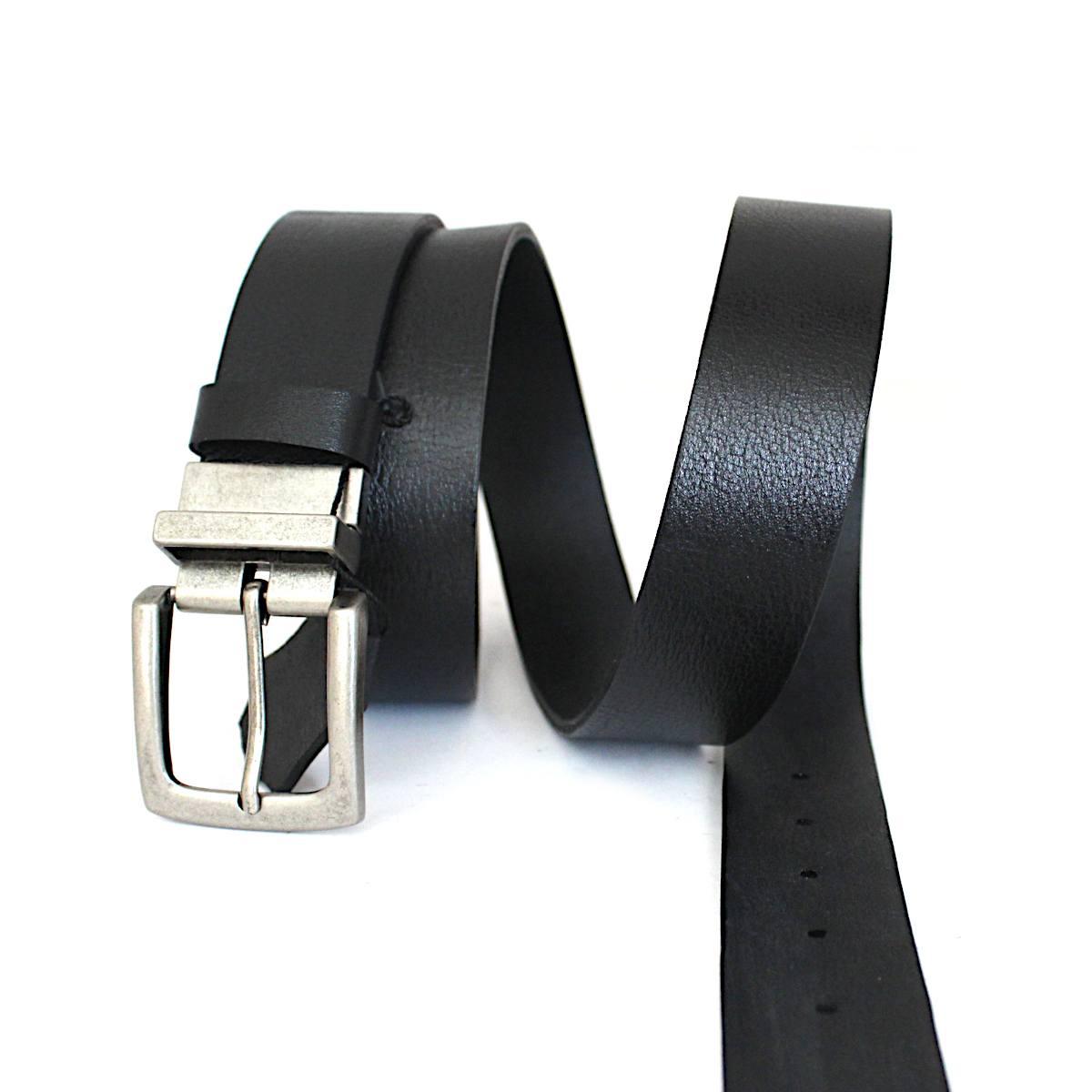 Класически колан от естествена кожа в черно и сребристо 3469 цял