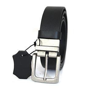 Класически колан от естествена кожа в черно и сребристо 3469