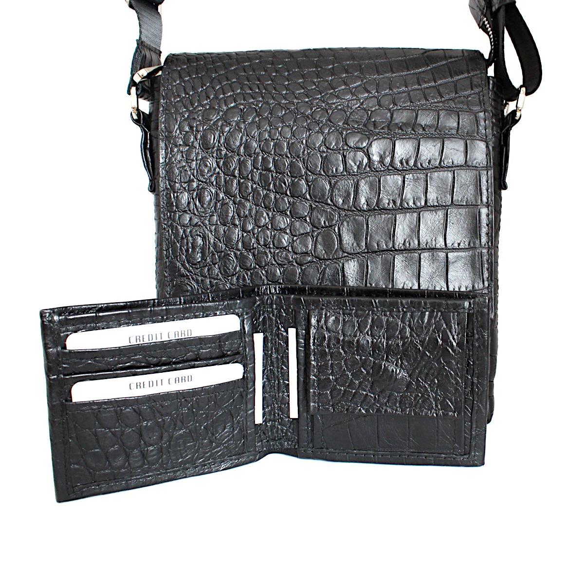 комплет мъжка чанта и портфейл крокодилска щампа отзад