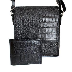 комплет мъжка чанта и портфейл крокодилска щампа