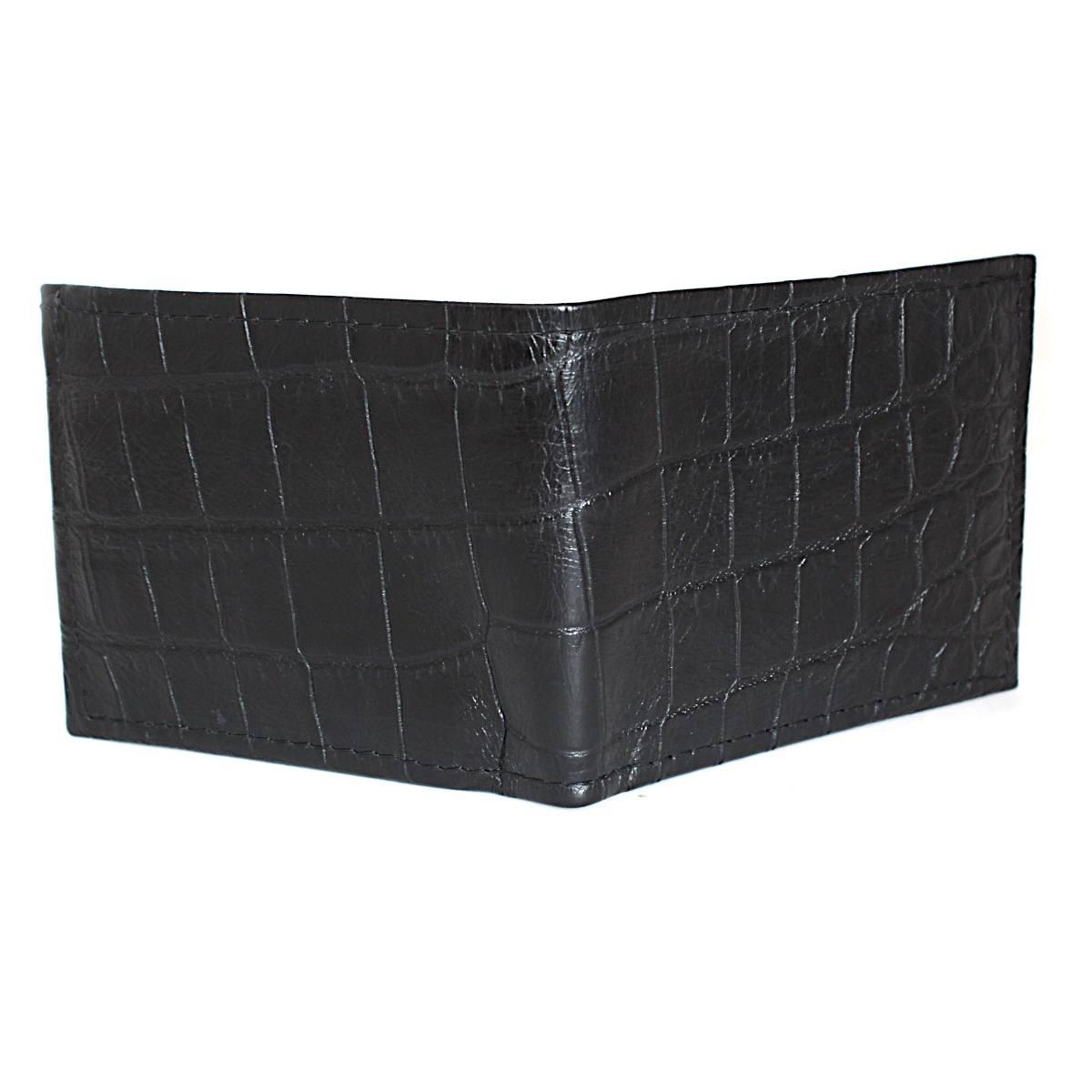 черен мъжки портфейл естествена кожа кроко щампа отзад
