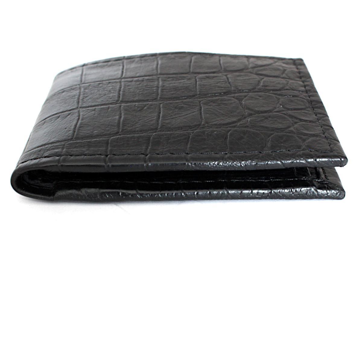 черен мъжки портфейл естествена кожа кроко щампа ръбове