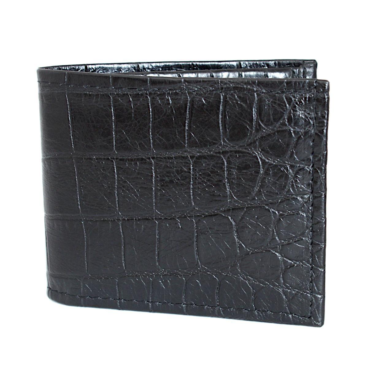 черен мъжки портфейл естествена кожа кроко щампа