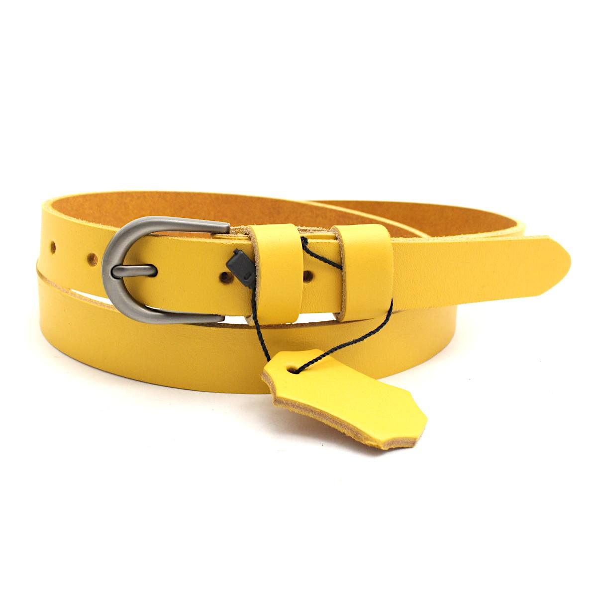 жълт дамски колан естествена кожа 7266 закопчан