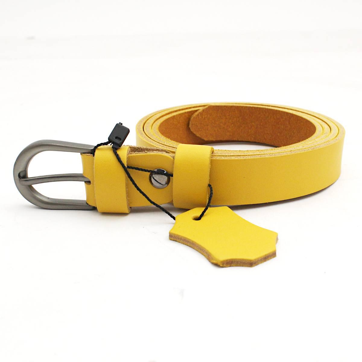 жълт дамски колан естествена кожа 7266 тока