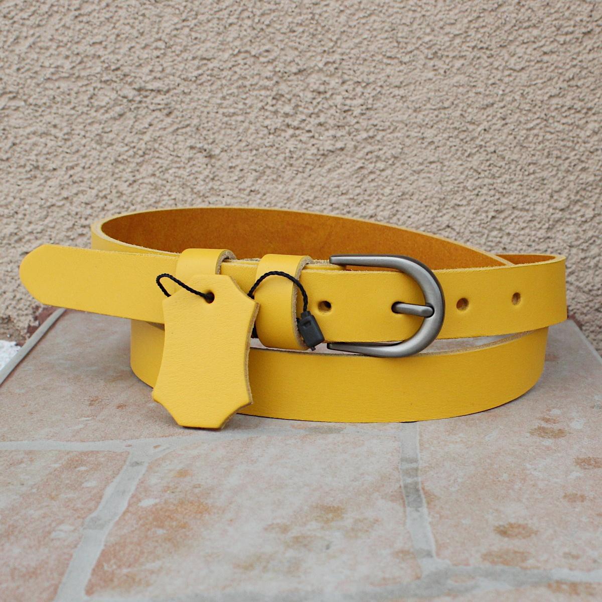 жълт дамски колан естествена кожа 7266 цветна
