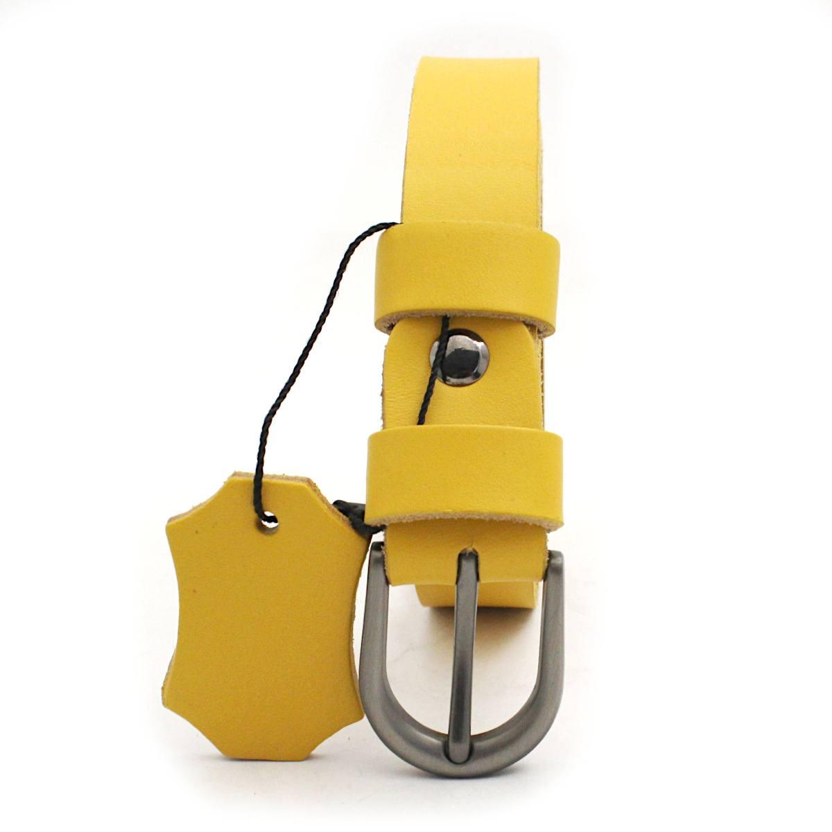 жълт дамски колан естествена кожа 7266