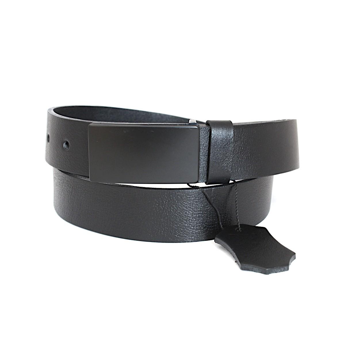 официален черен мъжки колан от естествена кожа 5333 закопчан