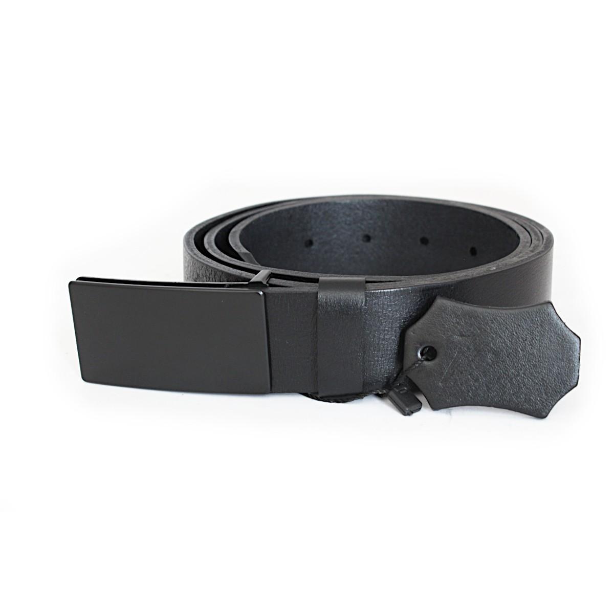 официален черен мъжки колан от естествена кожа 5333 тока