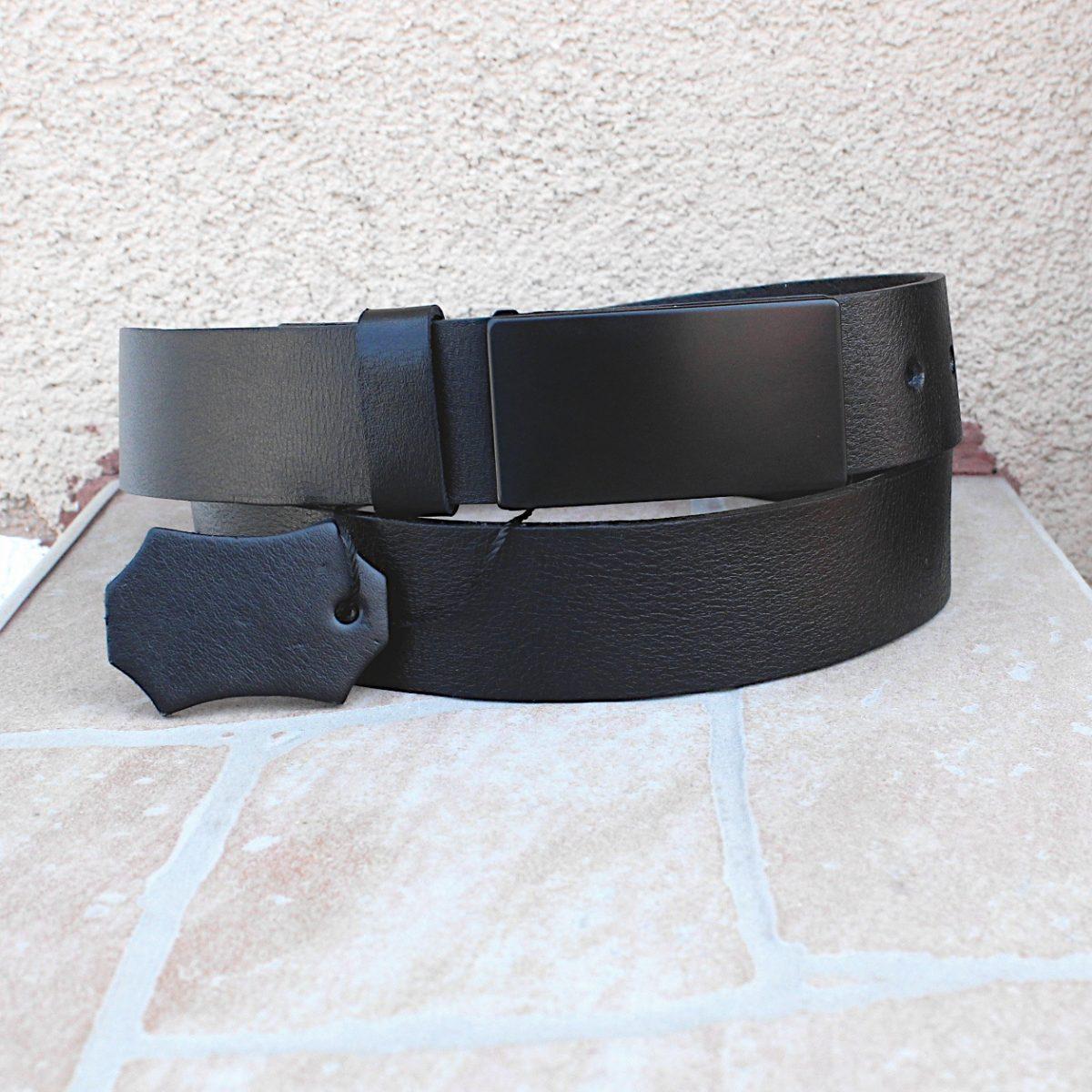официален черен мъжки колан от естествена кожа 5333 цветна