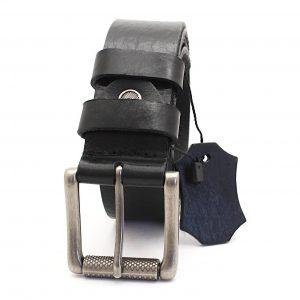 Текстуриран черен колан от естествена кожа 7536