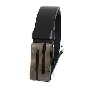 черен класически колан от естествена кожа 4599
