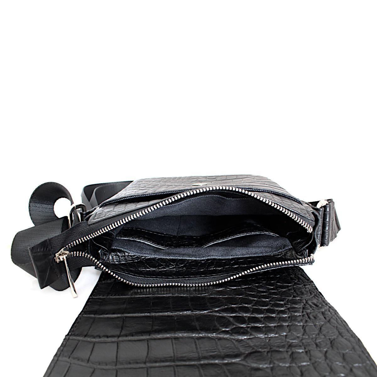 Черна Мъжка Чанта Естествена Кожа Кроко Щампа Отвътре