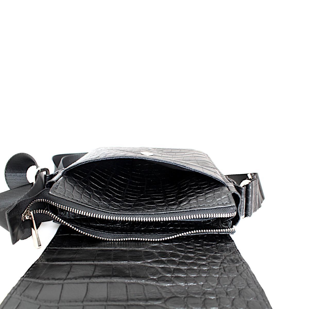 Черна Мъжка Чанта Естествена Кожа Кроко Щампа Преден Джоб